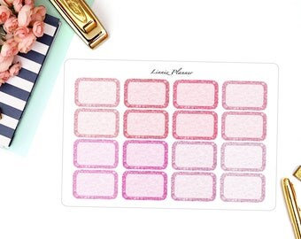 PINK Glitter Half Boxes (Matte planner stickers, fits perfect in Erin Condren Life Planner)