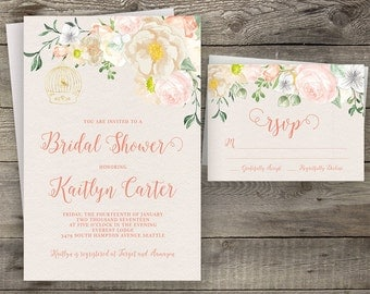 Floral Pink Calligraphy Bridal Shower Invitation Printable Boho Chic Party Invite Suite Bohemian Wedding Shower Spring / Summer Wedding