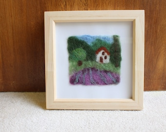 A Wet-Felted Picture Of A Lavender Field In Provence, France In A Square Wooden Frame