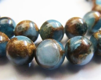 10 Pieces Blue Brecciated Jasper Beads, Smooth Round, 8mm