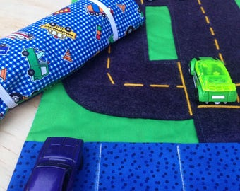 Car Wallet/ Car Roll/ Travel Wallet with Blue Cars and Truck print