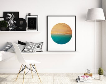 Beach Photo, Tropical Print, Beach Wall Art, Ocean Wall Art, Earth Photography, Coastal Art Print, Beach Poster, Circle Wall Art, A4, A3