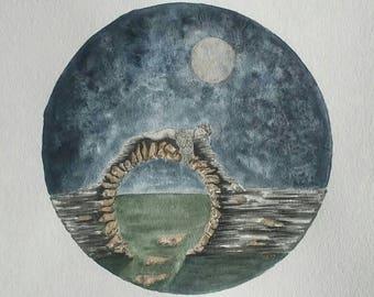 Moongate - Original Watercolor - 12 x 12