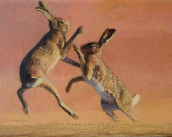 two wild hares  art print hares oil painting fine art print from original oil painting animal painting