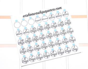 Mini Engagement Countdown Stickers - Wedding Countdown Stickers - Wedding Planner Stickers - Planner Stickers