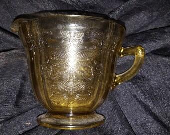 Amber Yellow Glass Creamer