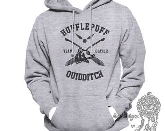BEATER - Huffle Quidditch team BEATER black print printed on White or Light Steel Hoodie