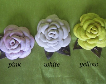 Rose Brooch leather,  flower brooch Yellow, White flower brooch, Pink Rose Brooch, Rose Brooch flower, rose leather brooch, leather brooch
