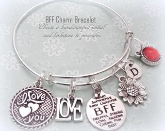 Best Friend Gift, Gift for BFF, Valentine Gift for BFF, Personalized Best Friend Jewelry Gift, BFF Charm Bracelet, Birthday Gift for Her