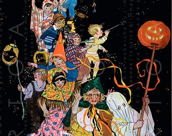 HALLOWEEN CHILDREN PARADE Rare Vintage Halloween Illustration Digital Halloween Download Great For Invites