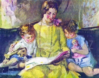 Beautiful Mother Reading To Children. Vintage Reading Illustration Digital Download. 1920's Book Reading Deco Flapper Print.