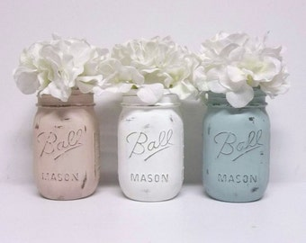 Blush Pink, White & Serene Blue Chalky Painted Mason Jars