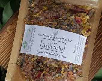 Organic Floral Bath Salts, Flower Bath Soak, Natural Soaking Salts, Organic Bath Salts, Himalayan Pink Salt Soak, Organic Bath and Body