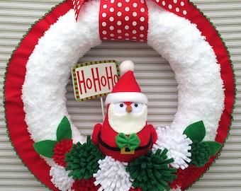 Christmas Wreath, Bird Wreath, Christmas Bird Wreath, Holiday Bird Wreath, Santa Bird Wreath, Christmas Yarn Wreath, Felt Flower Wreath