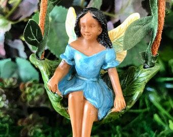 Miniature Fairy of Color on a Vine Swing