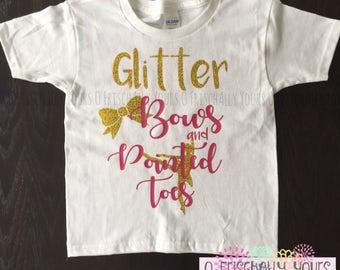 Ballerina and Glitter Little Girls Birthday Shirt