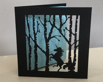 Customised Papercut Unicorn In The Woods Birthday Anniversary or General card - handmade to order