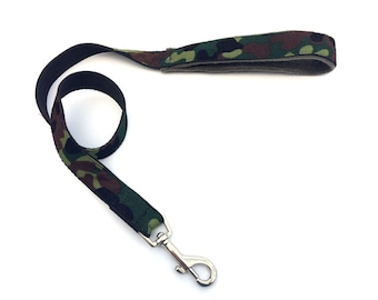 Camouflage print fabric dog lead