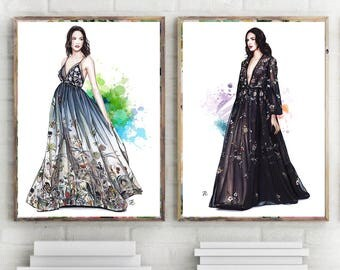 Fashion Couture, Set of 2 prints, set 2 prints, set of 2 watercolor,set of 2 designer,set of 2 fashion, fashion illustration, watercolor art