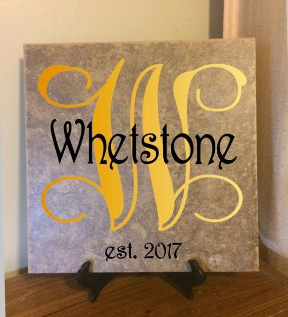 Monogram Family Name Sign On Ceramic Tile With Vinyl