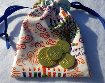 Hanukkah Chanukah Dreidel Game / Gelt / Gift Bag - Thick Lined Bag in Colorful Menorah Print