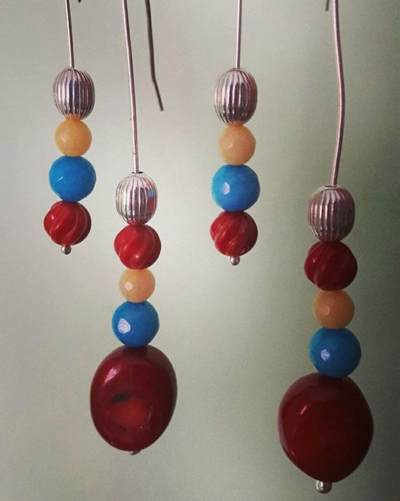 Silver earrings (coral and chalcedony)