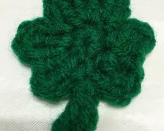 Crochet Shamrocks, Set of 8, St. Patrick's, Green Shamrocks, Shamrock Appliqués