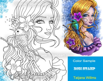 Birdlover - Fantasy  Coloring Sheet Digi Stamp Adult Coloring Girl with flowers and bird