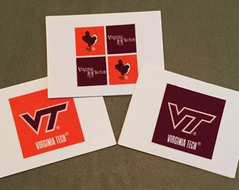 Virginia Tech Hokies - VT - Notecards - set of 8 blank inside