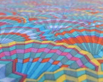 Kaffe Fassett Craft Cotton Fabric - Paper Fans - Teal Blue