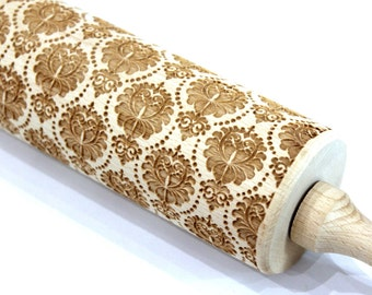 DAMASK Rolling Pin Christmas Gift, FLOWERS Embossing Laser Engraved Rolling Pin, Damask Pattern, Embossed Dough Roller, Gift for Mother, Big