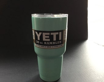 Authentic Yeti 30oz Rambler Powder cotaed Seafoam Green