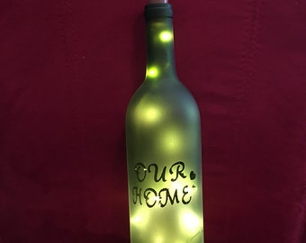 LED lighted cork with custom decorated wine bottle