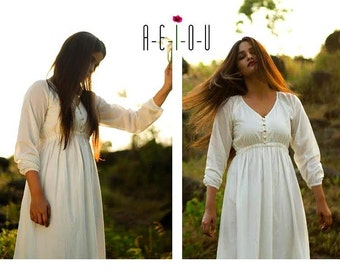 Organic white long dress, party wear with full sleeves