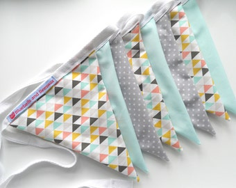 Mint, Blush Pink and Mustard Yellow Geometric Pastel Bunting