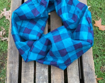 Teal and Navy Buffalo Plaid Infinity Scarf