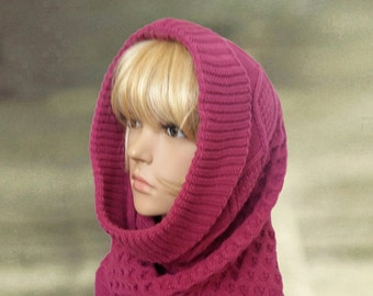Womens hooded scarf, Knitted worm cowl, Winter scoodie cowl, Womens warm hood, Knit cowl scarf, Knitted cowl hood, Scarf cowl snood