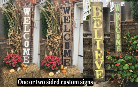 Yard signs decorative signs wood name signs by rustiquesigns for Outdoor decorative signs