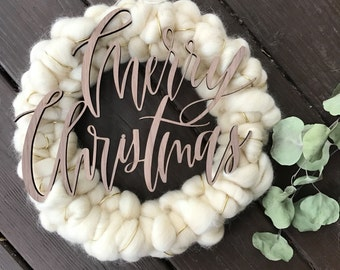 Merry Christmas Wreath || Wool Roving + Hand Lettering Wreath || Woven Wreath