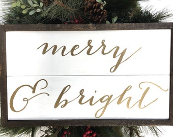 Merry & Bright Handcrafted Wooden Christmas Sign