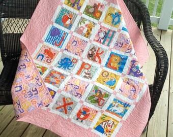 """Alphabet baby quilt - pink 44"""" x 51"""""""