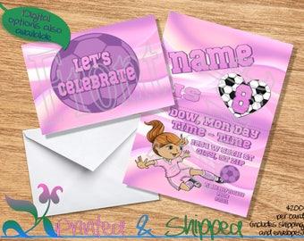 Soccer Pink & Purple Ball Invitation; Folded Card; Postcard; PDF; E-Card