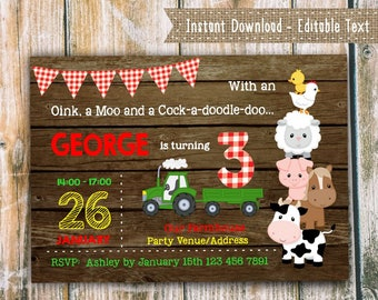 Farm Birthday Invitation for THREE year old, Barnyard Party Invitation, Instant Download, Tractor Invitation, Editable with Adobe Reader