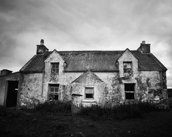 scottish art print, scottish wall art, rustic decor, black and white, fine art photograph, old cottage print, rural decay, scotland print