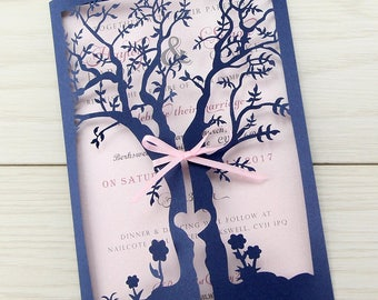 Sample * Laurel Laser Tree Wedding Invitations, Dark Blue, Gatefold, Summer Wedding Invite