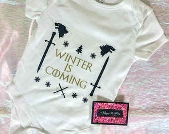 Glitter Baby Onesie - Winter Is Coming