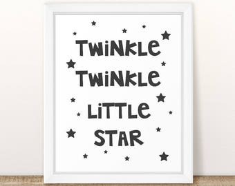 Twinkle Twinkle Little Star, Nursery Wall Print, Nursery Rhymes, Nursery Art, Wall Decor, Nursery Decor, Kids Room Art, Printable Nursery