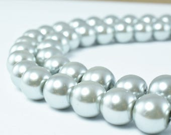 Glass Pearl Beads Light Silver Gray Size 10mm Shine Round Ball Beads for Jewelry Making Item#789222046323