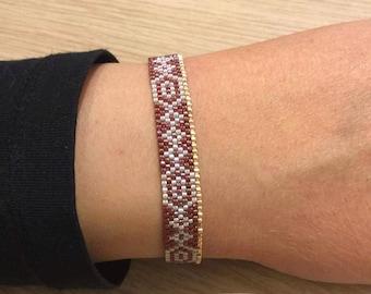 Dark red gold Seed Bead Bracelet, Adjustable Bracelet, Beadwoven Bracelet, Beaded Bracelet, SouSou Bracelet, Gifts for her