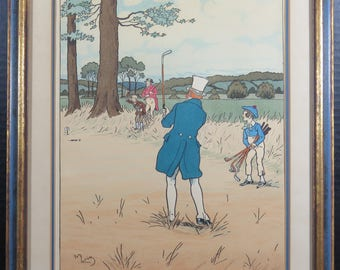 Harry Eliott Vintage Orginial Matted Framed Lithograph Golf Print